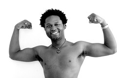 Victor #13 Flexing (just.Luc) Tags: belgium bw bn belgië belgique belgien belgica man male homme hombre uomo nu nude nudo desnudo naakt nackt naked shirtless nipples smile sourire glimlach portret ritratto retrato portrait flexing armpits oksels aisselles barechested arms armen bras biceps face gezicht visage african european cameroonian belgian polyglot sexy handsome young jong jeune chest torse torso