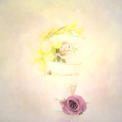 grapes and a rose (Hal Halli....happy everything!!) Tags: stilllife grapes cups tea rose wallart decor kitchen romance