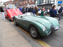 Stratford Festival Of Motoring 30th April 2017 (ukdaykev) Tags: car classiccar classictransport classic jaguar jag motoring midlands stratford stratforduponavon show stratfordfestivalofmotoring 2017 sportscar convertible softtop vehicle wirewheels racecar cea90j greatbritain green
