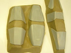 WM Shin and Ankle Flaps Prepped for Molding (thorssoli) Tags: ironman ironman2 warmachine armor prop costume cosplay molding moldmaking silicone rtv