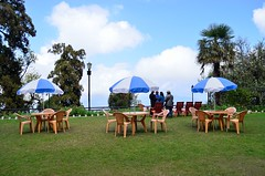 symphony [EXPLORE] (eyenamic) Tags: morning clouds sky blue white umbrella darjeeling darjeelingtouristlodge outdoor nikon d5100