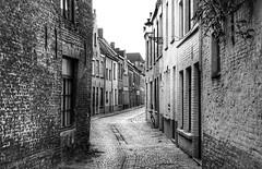Bruges backstreet (Westhamwolf) Tags: bruge belgium brugge street road houses bw black white