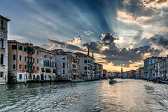 Morning at Canal Grande (Oddbjørn Strand) Tags: arkitektur architecture bymiljø color colour clouds cityscape cloudy canal farger gamlebygninger italy italia sjø nikcolorefex oldbuildings photoshopcc sea venezia venice nopeople tourism