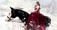 The red queen of winter (♡ fraya meriman ☮) Tags: secondlife bento horse winter red truth white queen snow riding hair ballgown flower wonderland belleza waterhorse