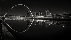Shining Light (Elidor.) Tags: quayside newcastleupontyne toon tyne river mono bw millenium bridge baltic gateshead d90 nighttime darkness light