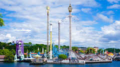 A view of Gröna Lund from across the water which is on Djurgården Island, Stockholm (grey_goshawk) Tags: stockholm gröna lund djurgården island roller coaster jetline amusement park