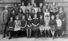Class photo (theirhistory) Tags: children kids boys girls jacket shirt dress shorts shoes wellies teacher wellingtons master class form school pupils students education
