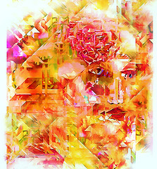 She Wore a Red Rose (D'ArcyG) Tags: woman lady girl rose red flower cubist cubism yellow floral vivid colorful picasso braque abstract impression smile memory pastel nostalgic