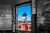 Window Framing (Justlai87) Tags: fortpoint goldengatebridge sanfrancisco sanfranciscobay presidioofsanfrancisco presidiosf presidio sanfranciscopresidio framing selectivecoloring