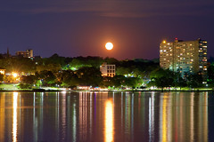 Moon Over Poughkeepsie (SunnyDazzled) Tags: moon strawberrymoon june2017 reflections water hudson river hudsonriver shine night nightphotogrpahy longexposure lightreflections city lights poughkeepsie newyork