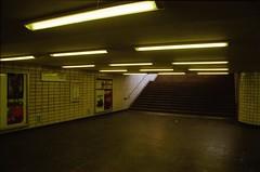 U-Bahnhof Tierpark, Berlin, BE (Jickatrap) Tags: pentaxmz50 pentax 35mm フィルム 写真フィルム analog film filmphotography fujisuperia superia200 郊外 地下鉄駅 トンネル フィルム写真 photographersontumblr newtopographics urbanlandscape フィルムカメラ berlin ドイツ ubahn 黄色