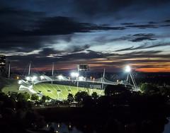 Olympic Stadion Munich (Ute E.) Tags: olympiapark munich olympicstadion spotlights green sundown