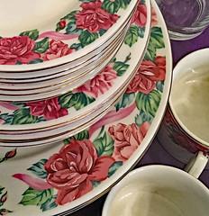 Rose Dowry (BKHagar *Kim*) Tags: bkhagar dishes plates china rose roses cups saucers sale estatesale athens al alabama shopping vintage