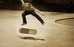 Leaving a shadow (CameraOne) Tags: skateboard skateboarding sport jumping flipping tricks skatepark texture textures textured raw sepia mono canon6d canon28135is cameraone outdoor topaz shadow