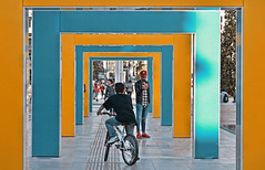 yellow blue (poludziber1) Tags: city colorful cityscape color colorfull street streetphotography summer laspezia people yellow blue urban italia italy light bycicle architecture liguria