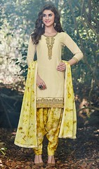 Cream Color Shaded Cotton Punjabi Dress