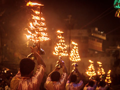 Ganga Aarti - Varanasi, India (Kartik Kumar S) Tags: varanasi uttarpradesh india canon 600d tokina 1116mm morning sunrise shivratri people places street photograpy saint walk steps lines prayers travel fire