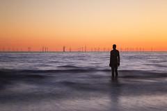 Submerge (DazaT) Tags: submerge anotherplace antonygormley sculpture crosbybeach liverpool sea sunset