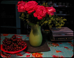 Everything's Coming Up Roses (prima seadiva) Tags: night roses stilllife grapes books achemilla