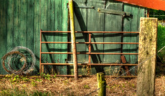 Shadows on the shed. (alex.vangroningen) Tags: shed vivid colors barbwire pole shadows letter a green red hinges old rusty lines textures light