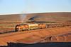 On the move (Bingley Hall) Tags: australia southaustralia rail railway railroad transport train transportation locomotive engine diesel outback wirrappa gm37 railpage:class=41 railpage:loco=gm37 rpaugmclass2 rpaugmclass2gm37 railpage:livery=39 commonwealthrailways gwa geneseewyomingaustralia 567c emd clydeengineering artc australianrailtrackcorporation bulldog streamliner
