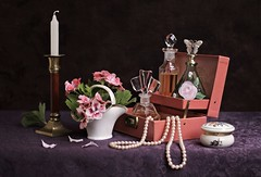 The Magic of Perfume (Esther Spektor - Thanks for 12+millions views..) Tags: stilllife naturemorte bodegon natureamorta stilleben naturamorta composition creativephotography artisticphoto arrangement spring tabletop flowers perfumes bottle box candlestick basket neclkace pearls candle pattern geranium petals glass ceramics metal white green pink burgundy golden purple coral black estherspektor canon