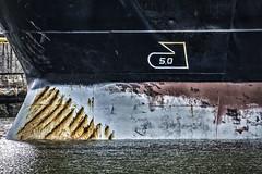 Battered Bow (PAJ880) Tags: tanker ariadne cargo bow battered chelsea river east boston ma detail