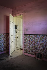 Keep the calls short (No Stone Unturned Photography) Tags: abandoned urbex house home wallpaper strawberryshortcake rotaryphone pink bedroom