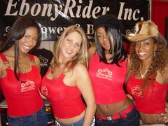 Ebony Rider Girls posing for me (hootervillefan) Tags: ims international motorcycle show ebony rider ebonyrider ebonyridermagazine busty babes tight red tank top angela white angelawhite