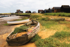 Abandoned boat and Fishermens Huts (robin denton) Tags: boat abandonedboats suffolk walberswick riverblyth eastcoast coast huts heritagecoast rnbblyth river riverscape