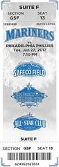 June 27, 2017, Seattle Mariners vs Philadelphia Phillies, Safeco Field, Seattle - Ticket Stub (Joe Merchant) Tags: june 27 2017 seattle mariners vs philadelphia phillies safeco field ticket stub