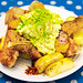 Chicken wings with potatoes and creamy avocado