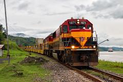 By Sea and By Rail (Wheelnrail) Tags: emd sd60 pcrc panama canal railway ships boat gamboa cut intermodal freight train trains railroad rails rail road