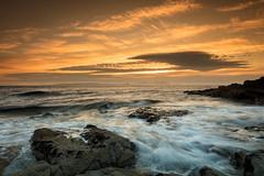 Sunset over Arran (Fifescoob) Tags: beach dunure ayr scotland ocean sea seascape coast tide sunset evening summer orange canon 5ds leefilters