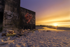 Tagged bunker (Thomas T. Berge) Tags: landscape scandinavia light lights rogaland regionstavanger sand sunset solastranden sola tagging bunker concrete ww2