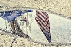 sǝʇᴉɹʞɔᴉlℲ uɐɔᴉɹǝɯ∀ ʎW ll∀ oʇ ʎlnſ ɟo ɥʇㄣ ʎddɐH (Paul B0udreau) Tags: canada ontario niagara paulboudreauphotography nikon nikond5100 photoshop street red canada150 hamilton tallships bandodekvar water nikkor70300mm americanflag 4thofjuly mast reflection puddle