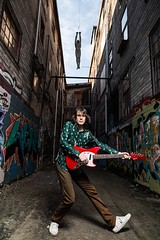 Tunnel Vision (Pennan_Brae) Tags: indiemusic canadianmusic graffiti alley electricguitars fenderguitars offsetguitar musicianphotography electricguitar guitar musicphotography fenderguitar fender fendermustang musician