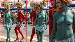"""""""Aladdin and Princess Jasmine. (With A Slight Storyline Twist)..."""" ;;-) (Alexxir) Tags: mermaid day parade alladin gay lgbtq bodypaint heandshe turban topless tits hooters greatbody hotgirl couple red green swamp creature highheels sequinskirt pasties nipples navalring jewelry banglebracelets mysterycharacters ancientfolklore headpieces brooklyn newyork photography street streetphotos"""