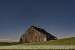 Moonlighting (NikonDigifan) Tags: moonlit fullmoon astrophotography barn delapidated agriculture wheat rural nightphotography bigdipper stars neewercn160 niksoftware nikond750 nikon28300 colorefexpro palouse palousehills washington easternwashington mikegassphotography
