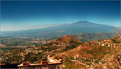 I sit on a big mountain in the restaurant. It's Castelmola! (piontrhouseselski) Tags: italy sicily etna castelmola summer
