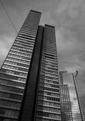 R0013586 (mkreibohm) Tags: architecture monochrome blackandwhite frankfurt germany skyscraper buildings building reflections sky clouds shapes glass windows urban structure city cityscape lines