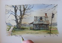 """Painting a Farmhouse"". New YouTube Video. (Peter Sheeler) Tags: penandink painting simple wash easy draw tutorial howto help tips tricks beginner watercolour watercolor penandwash lineandwash drawing peter sheeler fun quick sketch sheelerart englishsubtitles shadows urbansketch waterbrush lamy higgins pigma twsbi uniball farm rural fall laudry landscape farmhouse"