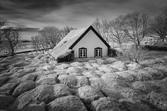 Grass Roots (TS446Photo) Tags: iceland travel landscape church grave infrared roof