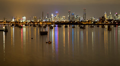Melbourne (Keith Midson) Tags: melbourne city night reflection reflections stkilda pier water boats yachts