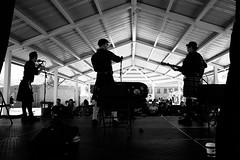 Curtain Call (russwynn) Tags: scottish festival highland games band black white sony 85mm 3 piece curtain shadows fiddle utah saltlakecity