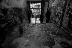Ghosts in the Graffiti Tunnel (astrogirl969) Tags: fujifilm xe1 samyang12mmf20ncssc haidandfilters nd8 postprocessed longexposure silverefexpro sydneyuniversity graffititunnel graffiti tunnel people motionblur monochrome blackandwhite dark silhouette filmsimulation fujifilmneopanacros100 10faves 1500views