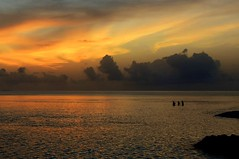 Sunset snorkellers. (pstone646) Tags: sunset sky sea panorama nature people maldives clouds reflections indianocean ocean
