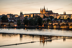City of Gold (McQuaide Photography) Tags: prague praag praha czechrepublic českárepublika czechia centraleurope europe sony a7rii ilce7rm2 alpha mirrorless 2470mm sonyzeiss zeiss variotessar fullframe mcquaidephotography adobe photoshop lightroom manfrotto tripod architecture outdoor outside building city capitalcity goldenhour longexposure landmark touristattraction travel tourism gothicarchitecture gothic charlesbridge karlůvmost malástrana lessertown bridgetower tower gate old oldbuilding history historic vltava river reflection water cityscape calm tranquil praguecastle pražskýhrad iconic icon