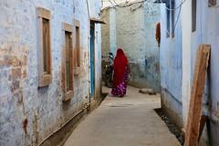 Walking Away (Alex L'aventurier,) Tags: inde india rajasthan jodhpur bluecity villebleue woman femme sari bleu rouge red walls mur decay texture street rue urban urbain windows fenêtres