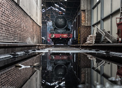 Reflection in Oil (Articdriver) Tags: tyseley steam locomotive castle cluncastle 7029 gwr greatwestern shed workshop oil reflection birmingham